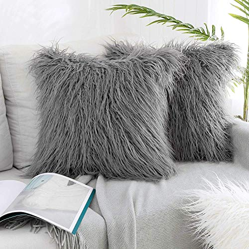 nuoshen 2 Pcs Plush Light Grey Christmas Cushion Covers, 45 x 45cm(18 x 18 inch) Faux Fur Decorative Super Soft Pillow Case for Sofa Bed Chair Couch Living Room