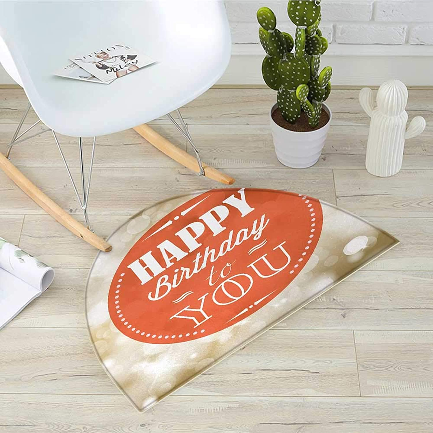 Birthday Semicircular CushionStamp with Retro Letters Celebratory Message Bokeh Backdrop Print Entry Door Mat H 31.5  xD 47.2  Pale Brown Vermilion White