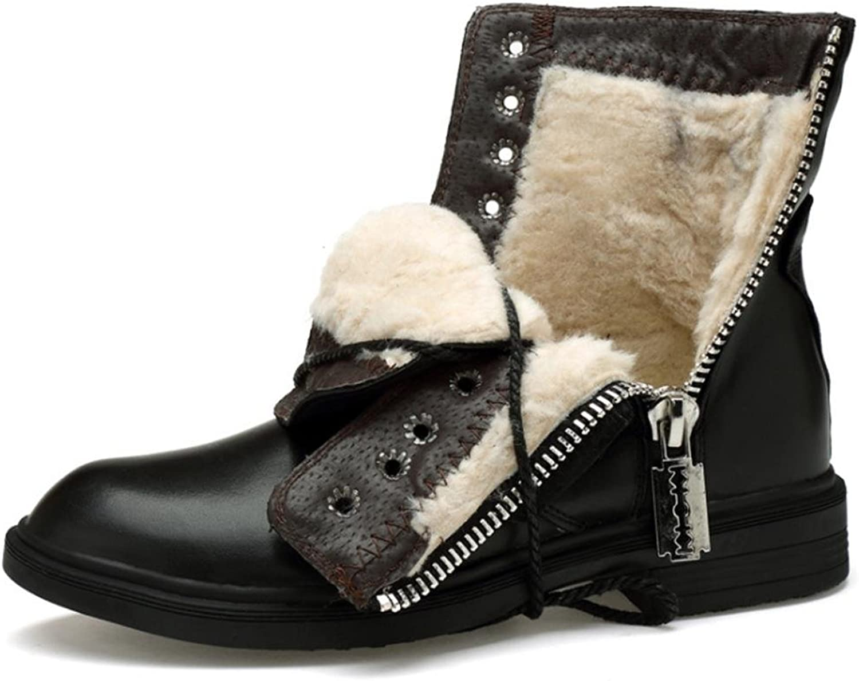 Herrenschuhe Winter Echtes Leder Casual Gummi Reiverschluss Lace-Up Pelz Gefüttert Kurze Martin Stiefel Schnee Knchel Schwarz Gre 39 Bis 45