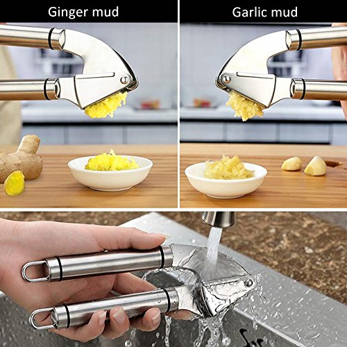 Grillers Garlic Ginger Press Crusher Squeeze Tool and Peeler Set Useful Convenient Kitchen Accessories