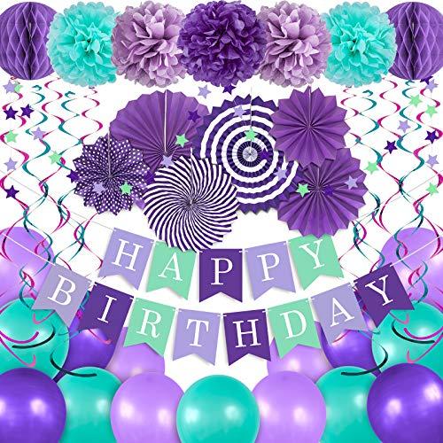 Whaline 41Pcs Happy Birthday Decorations Kit Mermaid Color Honeycomb Ball Paper Fan Paper Pompom Flower Happy Birthday Banner Hanging Swirls Star Garland Balloon Ribbon for Birthday Baby Shower