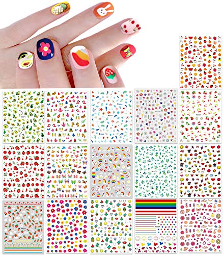 New 16 Large Sheets Nail Stickers for Women Kids Teens Little Girls Self Adhesive Nail Decals for Nail Art Decoration Include Flowers Butterfly Plants Leaves Fruits Rainbow Animals and More
