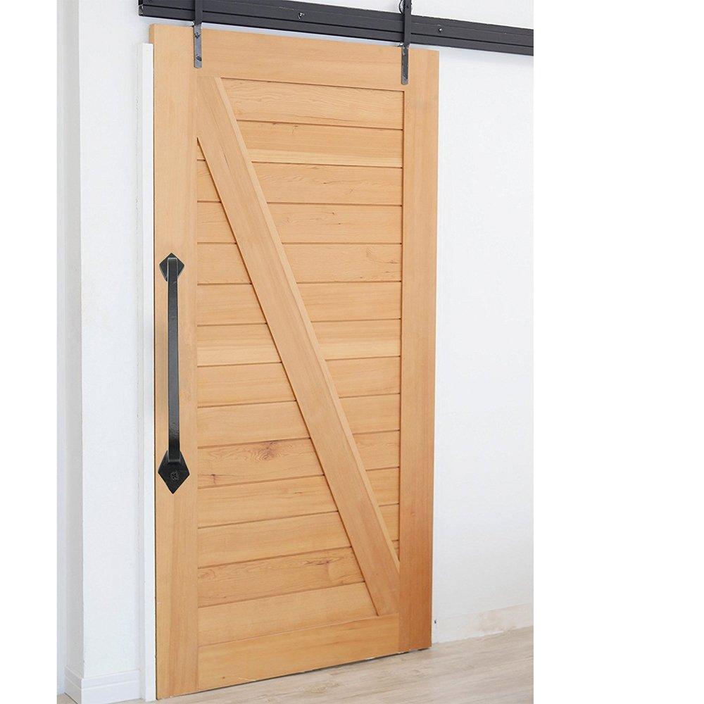 Negro de hierro fundido para puerta tirador – goldenwarm ls03t3bk Retro sólido resistente asas de deslizante para puerta de garaje cobertizo hardware, longitud total 250 mm: Amazon.es: Bricolaje y herramientas