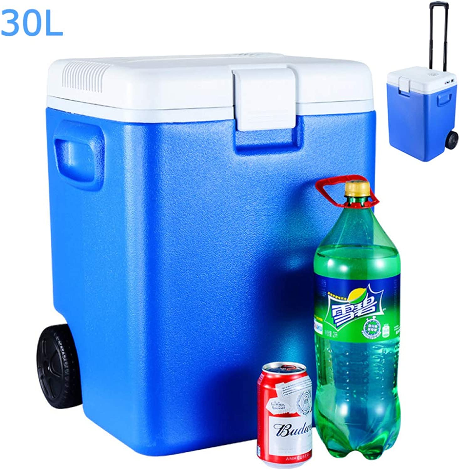 Thermoelectric Cool Box Camping Fridge 12V (30L) Car Cooler Car Refrigerator blueee for Travel Camping Picnics