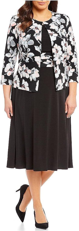 JESSICA HOWARD Womens Black Floral Wear To Work Jacket Size 14W