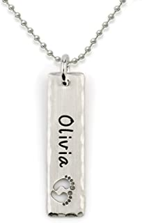 Open Foot Print Personalized Sterling Silver Name Necklace. Customize with Child's Name, Engraved with Solid Baby Feet. Your Choice of Sterling Silver Chain. Gifts for Her, New Mom