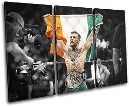Bold Bloc Design - Conor McGregor UFC MMA Irish Flag Sports 150x100cm Treble Canvas Art Print Box Framed Picture Wall Hang...