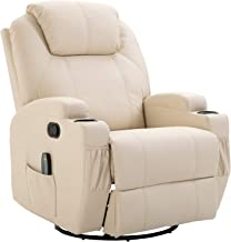 HomCom Massage Heated PU Leather 360 Degree Swivel Recliner Chair with Remote - Cream