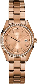 Caravelle Designed by Bulova Women's Quartz Watch with Stainless-Steel Strap, Rose Gold, 13.75 (Model: 44M114)