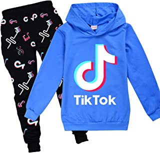 Womens Girls TIK TOK Top Hoodies Sweatshirt with 2 Piece Earrings Jewelry Pendant for Funs