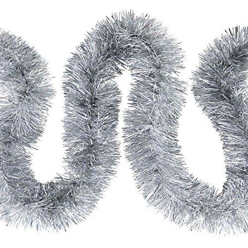 Weihnachts Deko7,5cm Feinschnitt Lametta Girlande 3x 2m (6m) – Silber