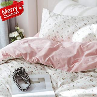 VCLIFE Pink Duvet Cover Lightweight Cotton Floral Duvet Cover with Pillowcases, Flower Duvet Cover Queen Full, Reversible White Pink Vintage Botanical Bedding Duvet Cover Sets with Zipper Closure