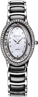 Wristband Wristwatch Oval Dial Scroll Rhinestone Bezel Quartz Women Watch with Alloy & Plastic Band Watch,Colour Name:Wa06...