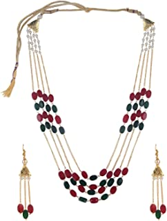 Indian Bollywood Multi Layered Faux Ruby Emerald Pearl Beads Wedding Bridal Necklace Earrings Jewelry Set