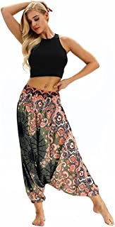 JOFOW Women's Pants,Floral Print Boho Latin India Oriental Loose Pleated Elastic Mid Waist Cargo Flared Trousers for Women
