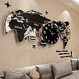 reloj de pared CivilWeaEU- Mapa Salón Moderno Minimalista Reloj Europeo Mudo Reloj Nórdico Decoración Personalizada Mesa Colgante (Color : Negro, Tamaño : 74*34cm)