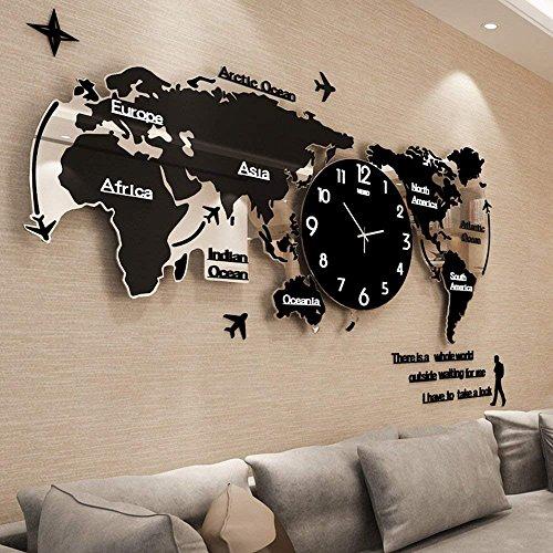Orologio da parete CivilWeaEU- Mappa soggiorno moderno minimalista orologio europeo muto orologio nordico decorazione personalizzata tavolo appeso (Colore : Nero, dimensioni : 74*34cm)
