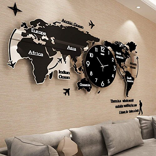 reloj de pared CivilWeaEU- Mapa salón Moderno Minimalista Reloj Europeo Mudo Reloj nórdico decoración Personalizada Mesa Colgante (Color : Black Luminous, Tamaño : 74 * 34cm)