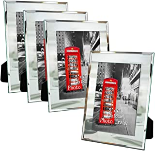 Amazing Roo 5x7 Mirror Picture Frame for Table Top Display 5 x 7 inch Glass Photo Frames, Set of 4
