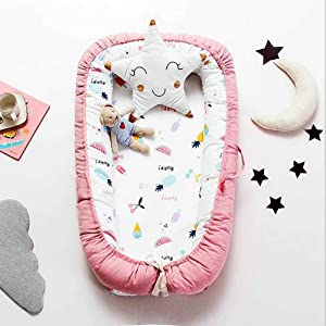 Lhh Baby Bionic Bed For Infants Toddlers Co-sleeping Cribs  amp  Cradles Lounger Cushion 100  Cotton Removable  90 15cm  C
