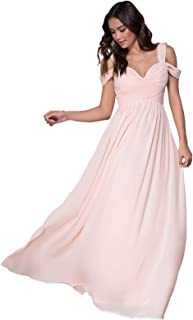 KKarine Women's A-Line Chiffon Off The Shoulder Ruched Bridesmaid Dresses Long Formal Prom Dress