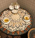 janef Beige Handmade Crochet Cotton Table Cloth Lace Doilies Irregular Round Lace Tablecloths 21.6 Inches.
