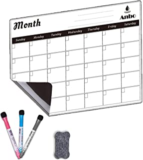 Magnetic Monthly Calendar White Board Planner for your Refrigerator or Office Includes: Perpetual Dry Erase Calendar Plann...