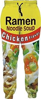 Unisex Joggers 3D Novelty Ramen Pants Noodle Soup Gym Jogging Trouser with Pocket