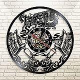 FDGFDG Máquina de Tatuaje Reloj de Vinilo Reloj de Pared Salón de Tatuajes Salón Fresco Interior Decorativo Reloj de Tiempo Tatuaje Amante Regalo