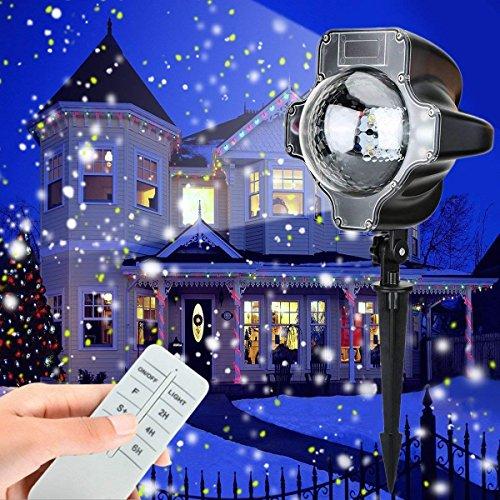 LED Projektionslampe, Schneepunkt Projektor Lampe Weihnachtsprojektor Licht Innen-Außen Stimmungsbeleuchtung für Weihnachten, Party, Hochzeit by Yinuo Mirror®