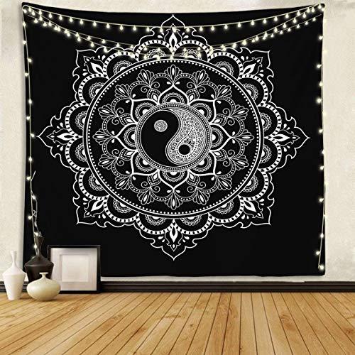 Tapiz de pared blanco y negro Mandala tapiz para colgar en la pared para dormitorio, sala de estar y dormitorio de 59 x 59 pulgadas