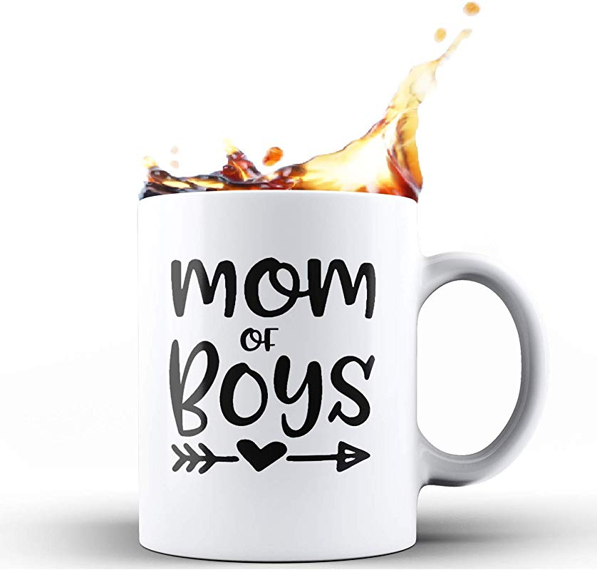 Shop4Ever Mom Of Boys Novelty Ceramic Coffee Mug Tea Cup Gift Mother S Day Gift For Boy Mama 11 Oz