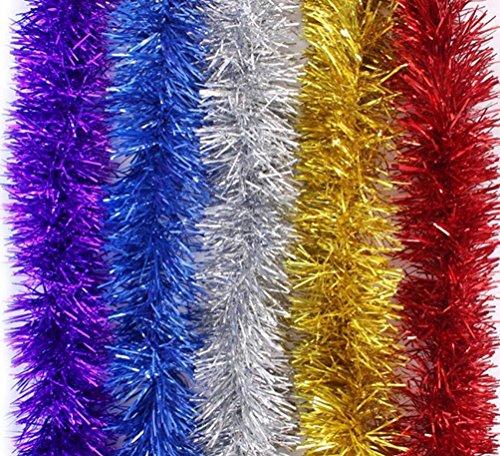 Brinny Lot de 5 Brillant Guirlandes Décoration pour Arbres de noël 2m Longue Christmas de Mariage Anniversaire Fête - Multicolore