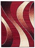 Carpeto Rugs Tapis Salon Rouge 180 x 250 cm Moderne Vagues/Monaco Collection