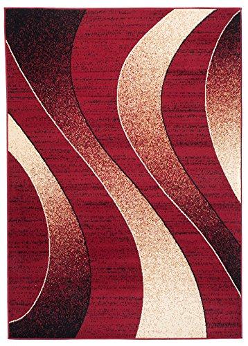 Carpeto Rugs Modern Teppich Kurzflor - Wellen Muster Designer Teppiche für Wohnzimmer, Schlafzimmer, Esszimmer - Rot Größe: 80 x 150 cm