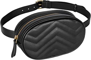 Geestock Women Waist Bags Waterproof PU Leather Belt Bag Fanny Pack Crossbody Bumbag for Party, Travel, Hiking, Black, One...