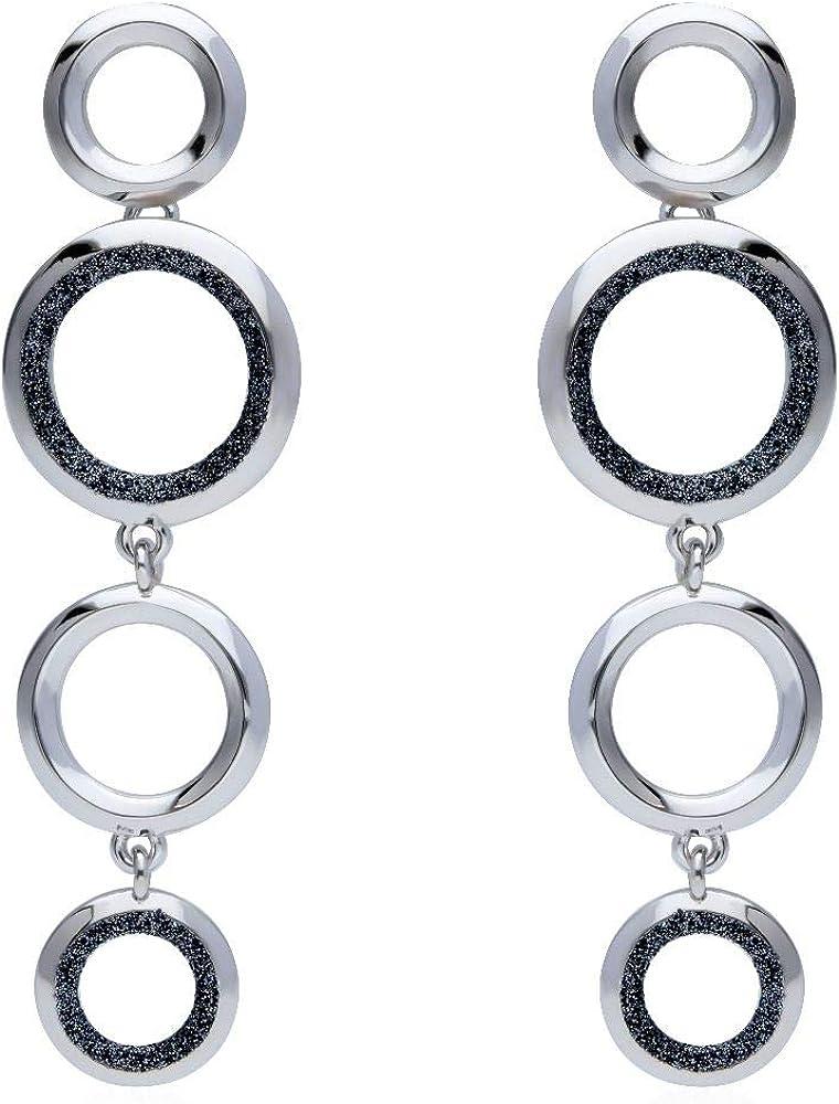 Stroili  orecchini per donna a lobo pendenti in ottone rodiato e glitter antracite 1666016