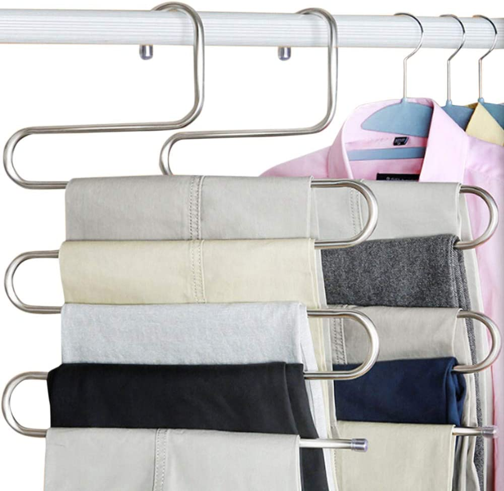Interlink Stainless Steel S-Type Multi-Pu Excellent 5-Layers Hangers Bombing new work Pants