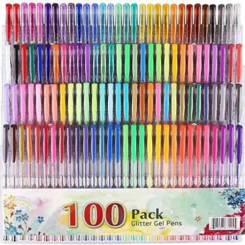Gel Pens, gel pen sets for kids 100 color gel pens Set for Adults Kids Books Scrap Booking Drawing Writing Glitter Metallic Pastel Swirl Doodling Art Painting Pens