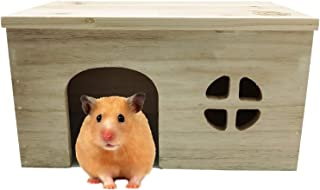 Hamster Wooden Hideout House,Small Animals Hideout Home Wooden Hut Habitat Decor for Syrian Hamster Mice Gerbils