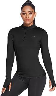 COOrun Dames hardloopshirt sport shirt opstaande kraag running tops lange mouwen sweatshirt ritssluiting functioneel shirt...