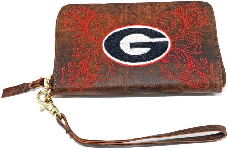 NCAA Georgia Bulldogs Women's Wristlet, 8x5x1/2, Brass