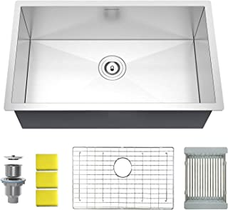 MENSARJOR 30'' Undermount Single Bowl Kitchen Sink - 18 Gauge Handmade Stainless Steel Sink, Deep Basin
