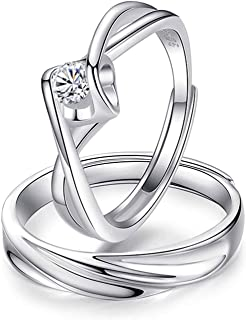 Bishilin Mens and Womens Couple Rings for Him and Her Silver Plated Celtic Twisted Wave Engagement Wedding Rings Band Set
