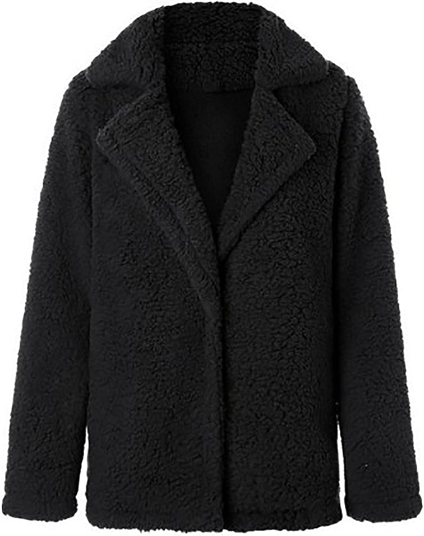 Womens Fleece Open Front Jackets, Oversized Warm Vintage Teddy Wool Blouse Elegant Casual Fashion Tops Coats Outwears