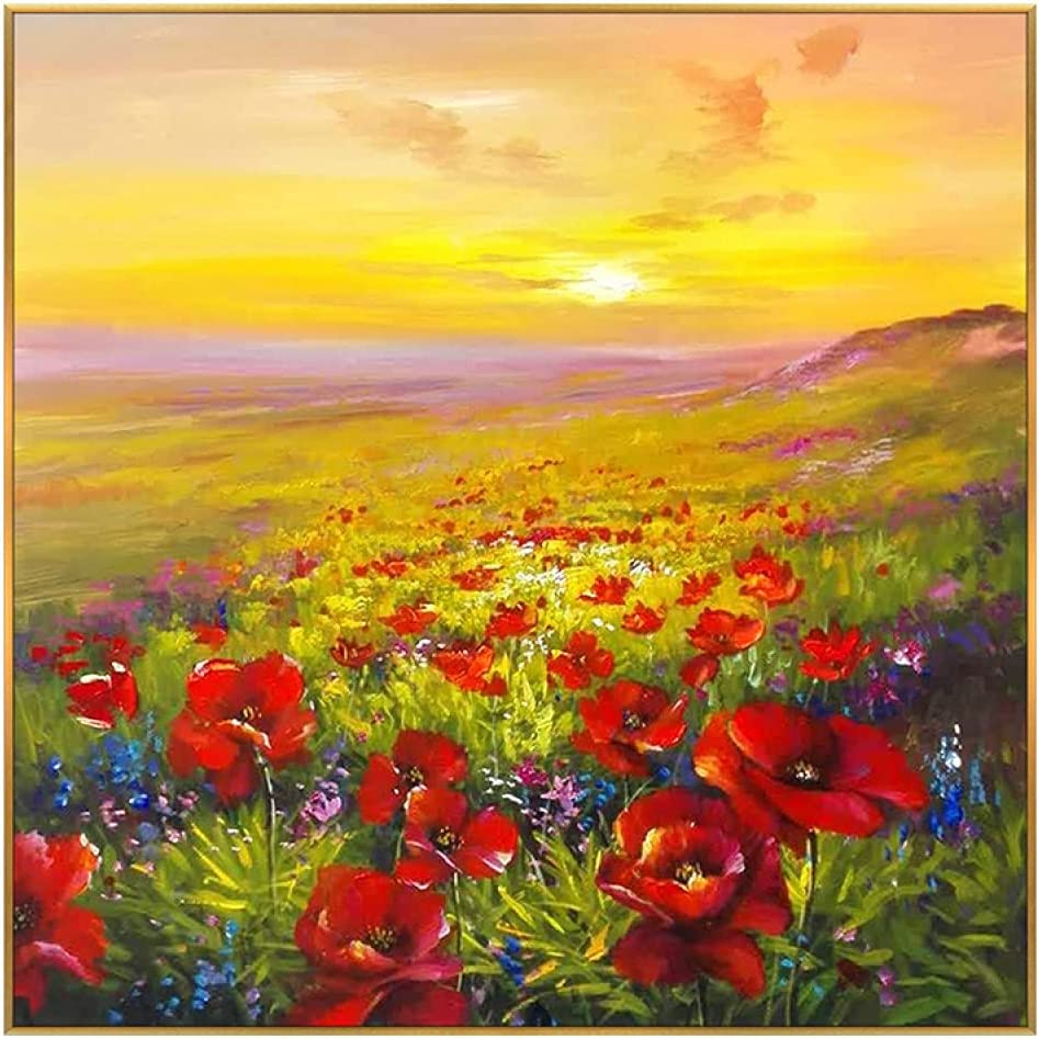 Art Paintings Red Poppies New arrival Sea Sunset Of Landscap Max 53% OFF Golden Flowers