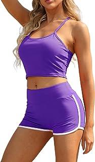Toplook Women Workout Outfits Yoga 2 Pieces Set Scrunch Butt Shorts and Crop Bra