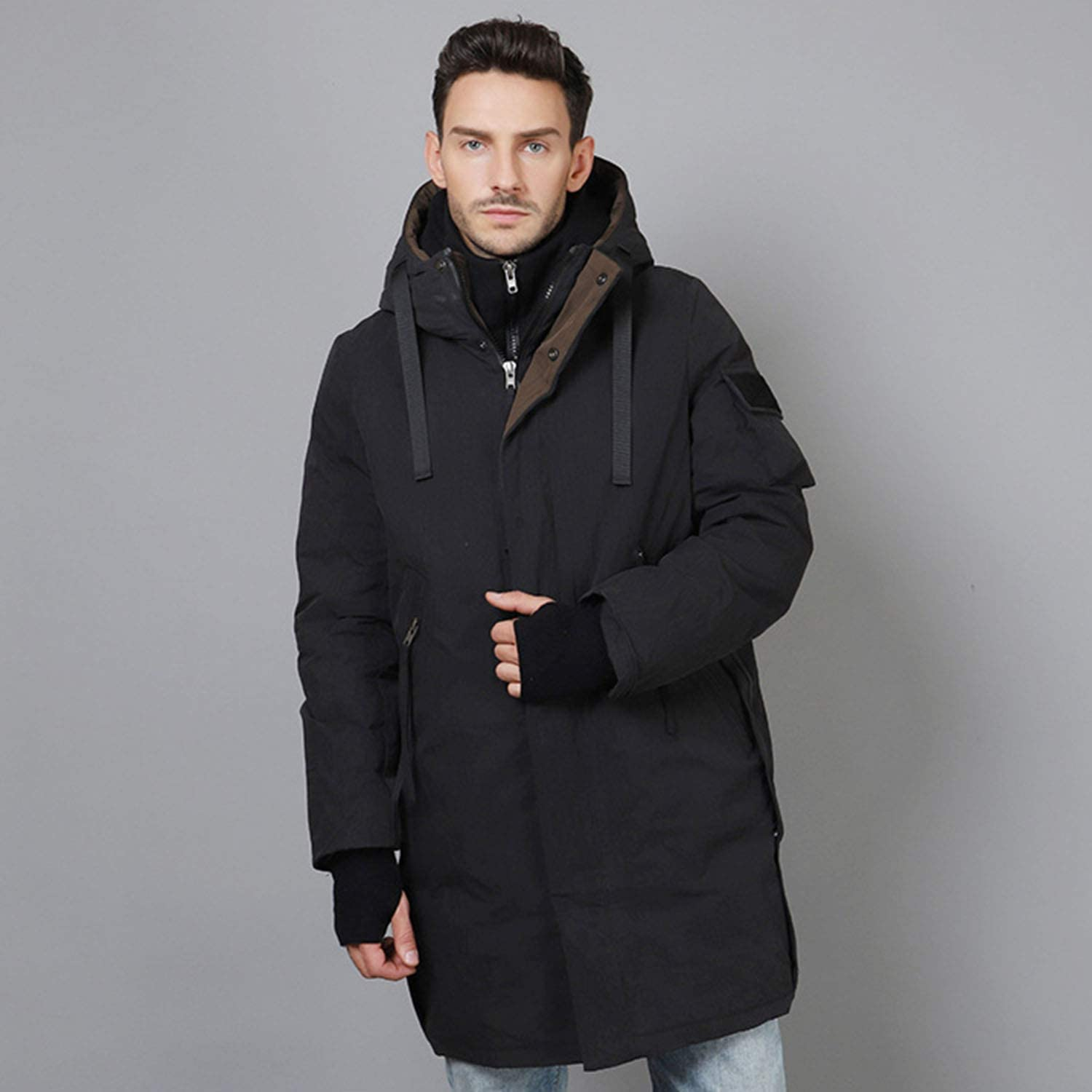 YXXHM- Long Section, Casual Solid color Zipper Thick Warm Jacket Male,Young White Duck Down Jacket Men