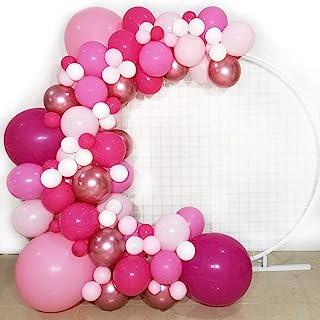 FUNPRT Barbie Party Balloon Garland Kit - Metallic Rose Gold Pink White Latex Balloons.100 Count - for Girl Birthday Barbi...