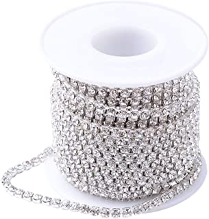 PH PandaHall 1 Roll 10 Yard 3mm Crystal Rhinestone Close Chain Clear Trimming Claw Chain Silver Cup Bead Chain Craft and Decoration Chains for Jewelry, Veil, Vase, Cake, Sewing, Clothing
